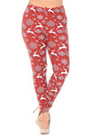 Brushed Jumping Christmas Reindeer Extra Plus Size Leggings - 3X-5X