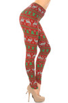 Brushed  Faux Knit Reindeer and Holiday Tree Plus Size Leggings