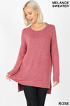Brushed Melange Round Neck HI-LOW Top