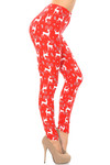 Brushed Prancing Christmas Reindeer Extra Plus Size Leggings - 3X-5X