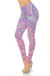 Double Brushed Pinky Blue Mandala Leggings