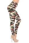 Brushed  Cozy Camouflage Extra Plus Size Leggings - 3X-5X