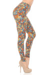 Brushed  Charcoal Rose and Skulls Plus Size Leggings