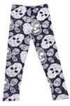 Brushed Black and White Sugar Skull Kids Leggings