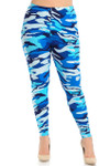 Brushed  Blue Camouflage Extra Plus Size Leggings - 3X-5X