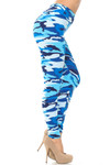 Brushed  Blue Camouflage High Waisted Leggings - EEVEE