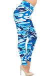 Brushed  Blue Camouflage High Waisted Plus Size Leggings - EEVEE