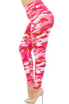 Brushed  Pink Camouflage High Waisted Plus Size Leggings - EEVEE