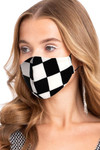 Black and White Checkered Face Mask - Made in USA