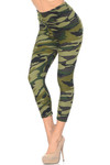 Buttery Soft Green Camouflage High Waisted Plus Size Capri - EEVEE