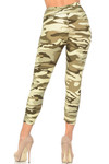 Buttery Soft Light Olive Camouflage High Waisted Plus Size Capri - EEVEE