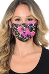 Fuchsia Neon Colorcade Metallic Gold Fashion Face Mask - Made in USA