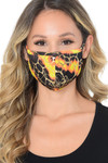 Orange and Yellow Neon Colorcade Metallic Gold Fashion Face Mask - Made in USA