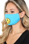 Side View of Bright Blue Smiley Face Mask with Built In Filter and Nose Bar