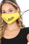 Ear Strings Bright Yellow Smile Face Mask with Built In Filter and Nose Bar