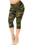 Buttery Soft Green Camouflage Plus Size Capris