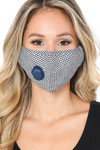 Navy checkered Plaid Face Mask with Air Valve