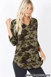 Rayon Camouflage 3/4 Sleeve V-Neck & Hem Top