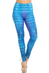 Creamy Soft Vibrant Blue Reptile Extra Plus Size Leggings - 3X-5X - By USA Fashion™