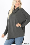 Front image of Charcoal Cowl Neck Hi-Low Long Sleeve Top