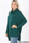 45 Degree Front image of Deep Green Cowl Neck Hi-Low Long Sleeve Top