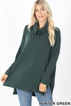 Front of Hunter Cowl Neck Hi-Low Long Sleeve Plus Size Top