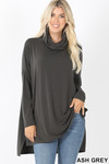Front image of Ash Grey Cowl Neck Hi-Low Long Sleeve Plus Size Top