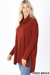 Left side image of Fired Brick Cowl Neck Hi-Low Long Sleeve Plus Size Top