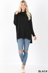 Full body front image of Black Cowl Neck Hi-Low Long Sleeve Plus Size Top