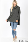 Full body front image of Charcoal Cowl Neck Hi-Low Long Sleeve Plus Size Top