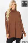 Front image of Light Brown Rayon Cowl Neck Dolman Sleeve Plus Size Top
