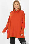 Front image of Copper Rayon Cowl Neck Dolman Sleeve Plus Size Top