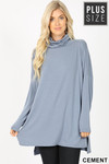 Front image of Cement Rayon Cowl Neck Dolman Sleeve Plus Size Top