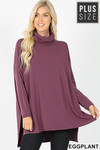 Front image of Eggplant Rayon Cowl Neck Dolman Sleeve Plus Size Top