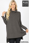 Front image of Charcoal Rayon Cowl Neck Dolman Sleeve Plus Size Top