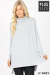 Front image of Light Grey Rayon Cowl Neck Dolman Sleeve Plus Size Top