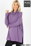 Front image of Lilac Grey Rayon Cowl Neck Dolman Sleeve Plus Size Top