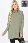 Front image Light Olive Mocha Rayon Cowl Neck Dolman Sleeve Plus Size Top