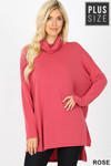 Front image of Rose Rayon Cowl Neck Dolman Sleeve Plus Size Top