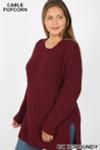 Left side image of Dark Burgundy Front image of Eggplant Cable Knit Popcorn Round Neck Hi-Low Plus Size Sweater