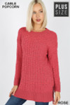 Front image of Rose Cable Knit Popcorn Round Neck Hi-Low Plus Size Sweater