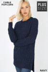45 degree image of Navy Cable Knit Popcorn Round Neck Hi-Low Plus Size Sweater