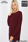 45 degree image of Dark Burgundy Cable Knit Popcorn Round Neck Hi-Low Plus Size Sweater