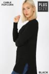 Left side image of Black  Cable Knit Popcorn Round Neck Hi-Low Plus Size Sweater