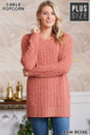 Front image of Ash Rose Cable Knit Popcorn Round Neck Hi-Low Plus Size Sweater