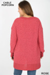 Back side image of Rose Cable Knit Popcorn V-Neck Hi-Low Plus Size Sweater