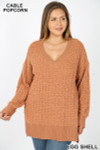 Front image of Eggshell Cable Knit Popcorn V-Neck Hi-Low Plus Size Sweater