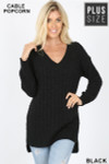 Front image of Black Cable Knit Popcorn V-Neck Hi-Low Plus Size Sweater