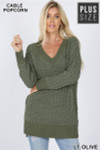 Front image of Light Olive Cable Knit Popcorn V-Neck Hi-Low Plus Size Sweater