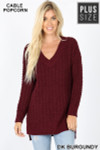Front image of Dark Burgundy Cable Knit Popcorn V-Neck Hi-Low Plus Size Sweater